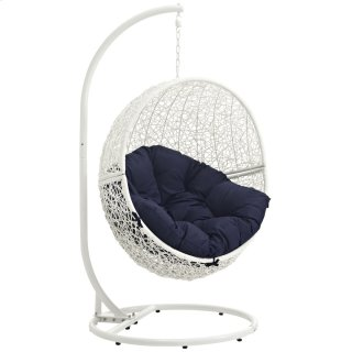 Hide Outdoor Patio Swing Chair With Stand in White Navy