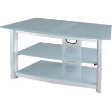 "3-tier TV Stand, Silver Chrome/fro. Glass, 43.25""LX22""WX20""H"