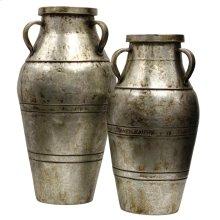Set of Two Silver Prada Industrial Metal Vases