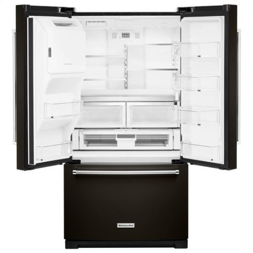KitchenAid® 26.8 cu. ft. 36-Inch Width Standard Depth French Door Refrigerator with Exterior Ice and Water and PrintShield™ finish - Black Stainless