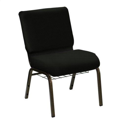Wellington Black Upholstered Church Chair with Book Basket - Gold Vein Frame