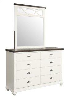 Dresser Mirror Antique White W/dk Brown Pine Top Cap & Mirror Accent