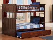 Nantucket Bunk Bed Full over Full with Urban Trundle Bed in Walnut