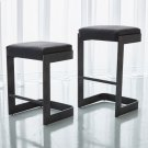 Regan High Bar Stool w/Black Leather-Graphite Product Image