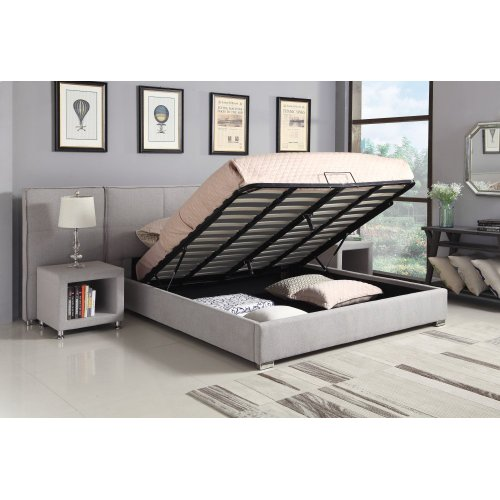 Emerald Home Cazelle Upholstered Bed Dove Gray B133-12-3pcset1-k