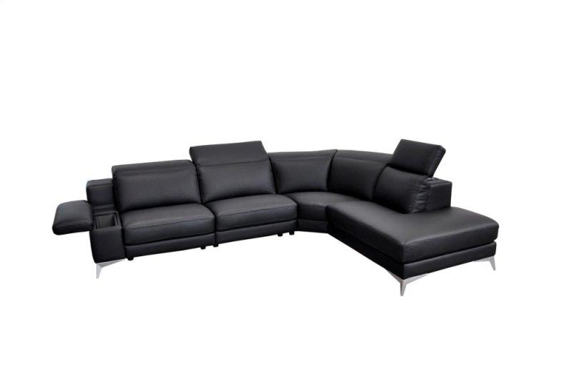 Estro Salotti Hypnose Italian Modern Black Leather Sectional Sofa w/  Recliner