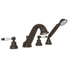 Tuscan Brass 4-Hole Deck Mounted Bathtub Filler With Handshower with Arcana Classic Metal Lever