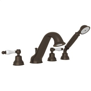 Tuscan Brass 4-Hole Deck Mounted Bathtub Filler With Handshower with Arcana Ornate Porcelain Handle