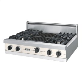"""Oyster Gray 36"""" Sealed Burner Rangetop - VGRT (36"""" wide, four burners 12"""" wide char-grill)"""