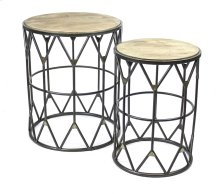 S/2 Round Metal Accent Tables, Wood Top