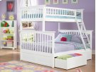 Columbia Bunk Bed Twin over Full with Urban Bed Drawers in White Product Image