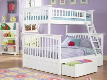 Columbia Bunk Bed Twin over Full with Urban Bed Drawers in White