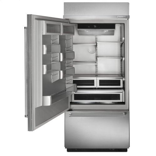 "20.9 Cu. Ft. 36"" Width Built-In Panel Ready Platinum Interior Bottom Mount Refrigerator"