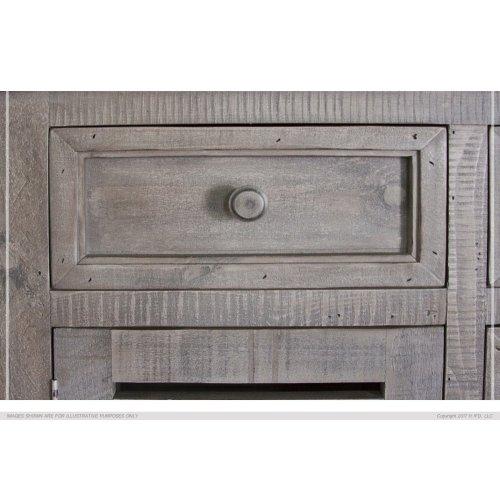 6 Drawer & 2 Doors Console Gray Finish