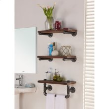 "Armen Living 20"" Conrad Industrial Walnut Wood Floating Wall Shelf in Silver Finish"