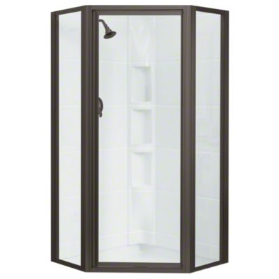 Intrigue™ Neo-angle Shower Door - Deep Bronze with Smooth Clear Glass Texture