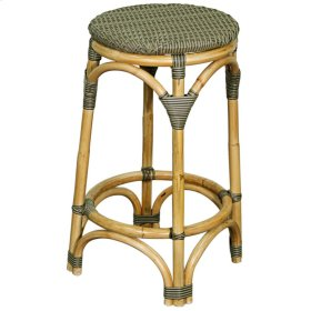 Adeline Rattan Backless Bistro Bar Stool, Light Gray/Dark Gray