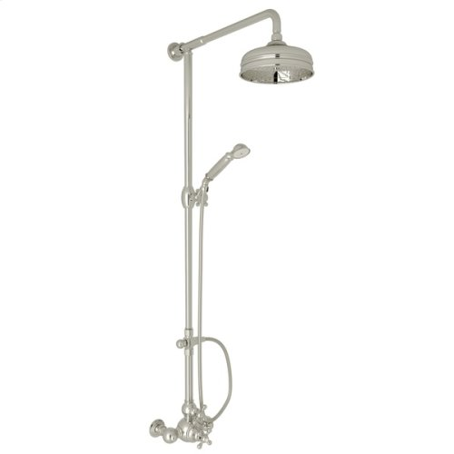 Polished Nickel Arcana Exposed Wall Mount Thermostatic Shower With Volume Control with Arcana Series Only Cross Handle