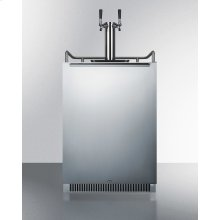 Built-in Undercounter Frost-free Beer Dispenser With Stainless Steel Wrapped Door, Digital Thermostat, and Complete Dual Tap Kit