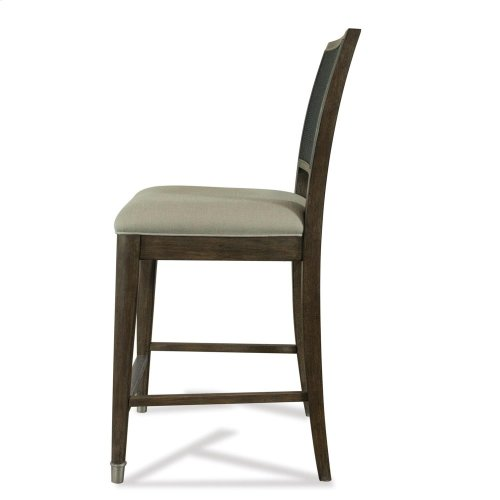 Joelle - Woven Gathering Height Chair - Carbon Gray Finish