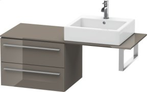 Low Cabinet For Console, Flannel Grey High Gloss Lacquer