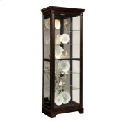 Locking Slide Door 5 Shelf Curio Cabinet in Deep Cherry Brown Product Image