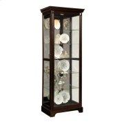 Locking Slide Door 5 Shelf Curio Cabinet in Deep Cherry Brown Product Image