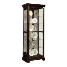 Locking Slide Door 5 Shelf Curio Cabinet in Deep Cherry Brown