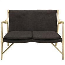Makeshift Upholstered Fabric Loveseat in Natural Brown