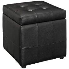 Volt Storage Faux Leather Ottoman in Black
