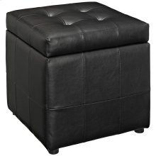 Volt Storage Upholstered Vinyl Ottoman in Black