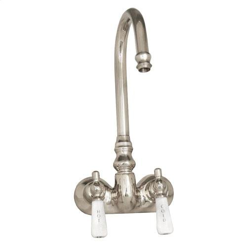 Clawfoot Tub Filler - Code Spout, Lever Porcelain Handles - Polished Nickel