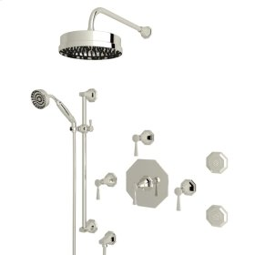 Polished Nickel Perrin & Rowe Deco Thermostatic Shower Package with Deco Metal Lever