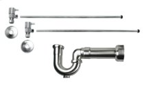 """Lavatory Supply Kit w/ Massachusetts P-Trap - Angle - Contemporary Lever Handle - 1/2"""" Compression (5/8"""" O.D.) Inlet x 3/8"""" O.D. Compression Outlet - Brushed Nickel"""
