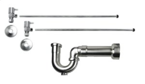 "Lavatory Supply Kit w/ Massachusetts P-Trap - Angle - Contemporary Lever Handle - 1/2"" Compression (5/8"" O.D.) Inlet x 3/8"" O.D. Compression Outlet - Polished Brass"