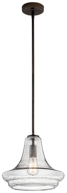 Everly 1 Light Pendant Clear Seeded Glass Olde Bronze®