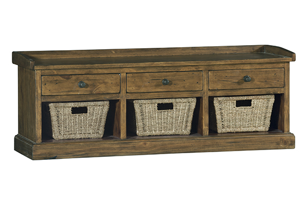 Hilale Furniture Tuscan Retreat R Bench With 3 Drawers Old World Pine