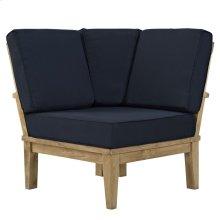 Marina Outdoor Patio Premium Grade A Teak Wood Corner Sofa in Natual Navy
