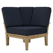 Marina Outdoor Patio Teak Corner Sofa in Natual Navy