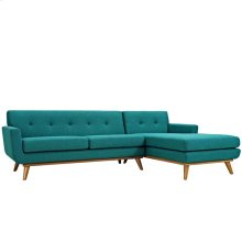 Engage Right-Facing Sectional Sofa in Teal