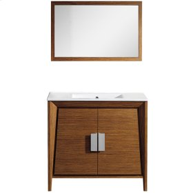Vanity with basin and mirror