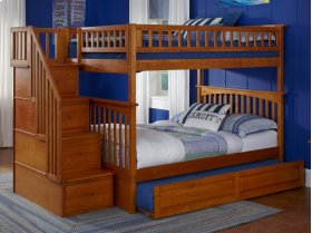 Columbia Staircase Bunk Bed Full over Full with Raised Panel Trundle Bed in Caramel Latte