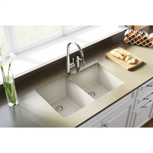 "Elkay Quartz Classic 33"" x 20-1/2"" x 9-1/2"", Offset Double Bowl Undermount Sink, Bisque"