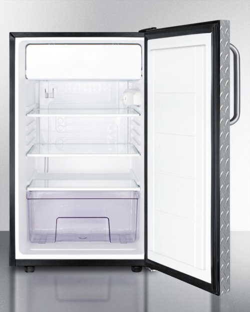 "Commercially Listed ADA Compliant 20"" Wide Built-in Refrigerator-freezer With A Lock, Diamond Plate Door, Towel Bar Handle and Black Cabinet"