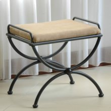 Microsuede Upholstered Iron Iron and Microsuede Vanity Stool - Java