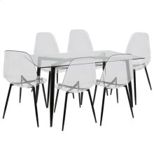 Clara 7-piece Dining Set - Black Metal, Clear