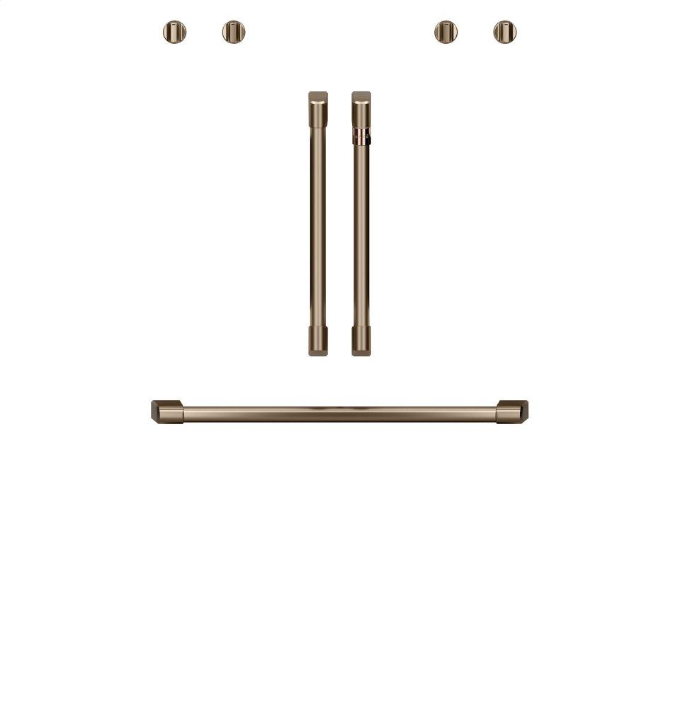 """Cafe AppliancesCaf(eback) 2 French-Door Handles; 1 - 30"""" Handle; 4 Knobs - Brushed Bronze"""