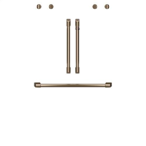 """Café 2 French-Door Handles; 1 - 30"""" Handle; 4 Knobs - Brushed Bronze"""