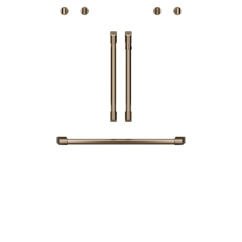 "Caf(eback) 2 French-Door Handles; 1 - 30"" Handle; 4 Knobs - Brushed Bronze"