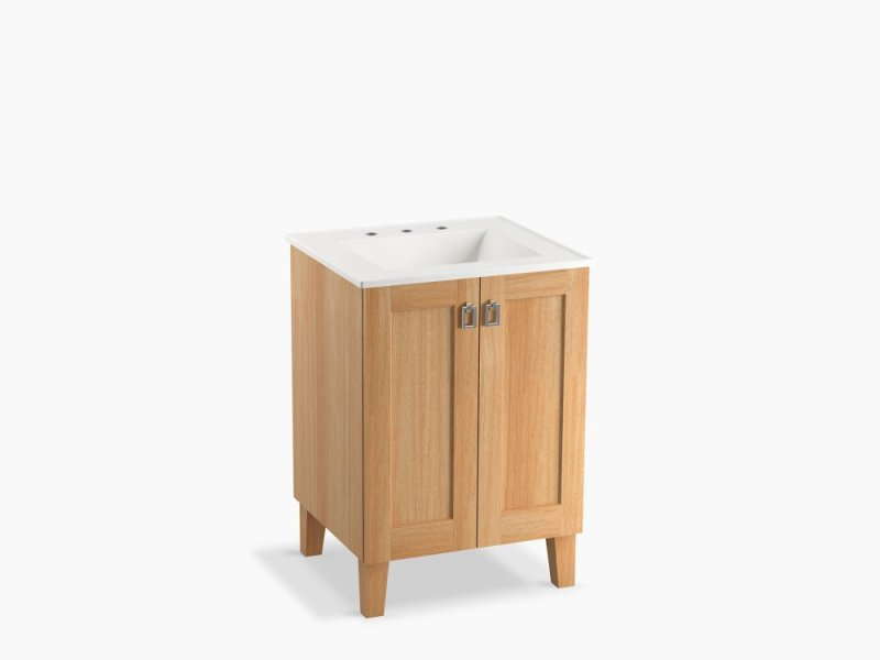 Khaki White Oak 24 Bathroom Vanity Cabinet With Legs And 2 Doors
